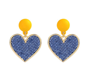 Country French Denim Heart  Earrings