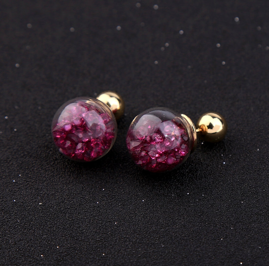 Floating Burgandy Crystal Baubles Two Sided Earrings