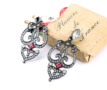 Swarovski French Heart Chandalier Earrings