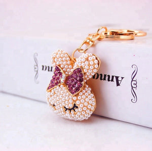 Pearly Purple Bow Bunny Purse Charm Keychain