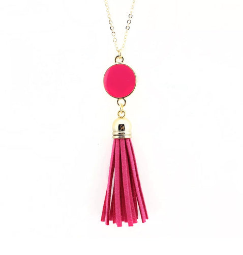 Dazzling French Fringe Necklace Pink