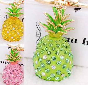 Glitzy Glam Green Pineapple Purse Charm Keychain