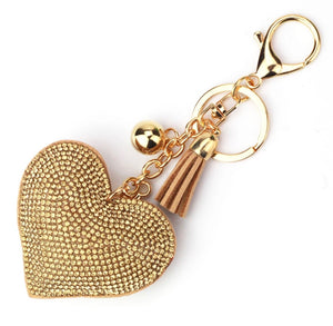 Gold Heart Purse Charm Keychain