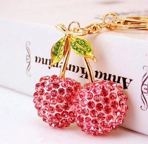 Sweet Pink Cherries Purse Charm Keychain
