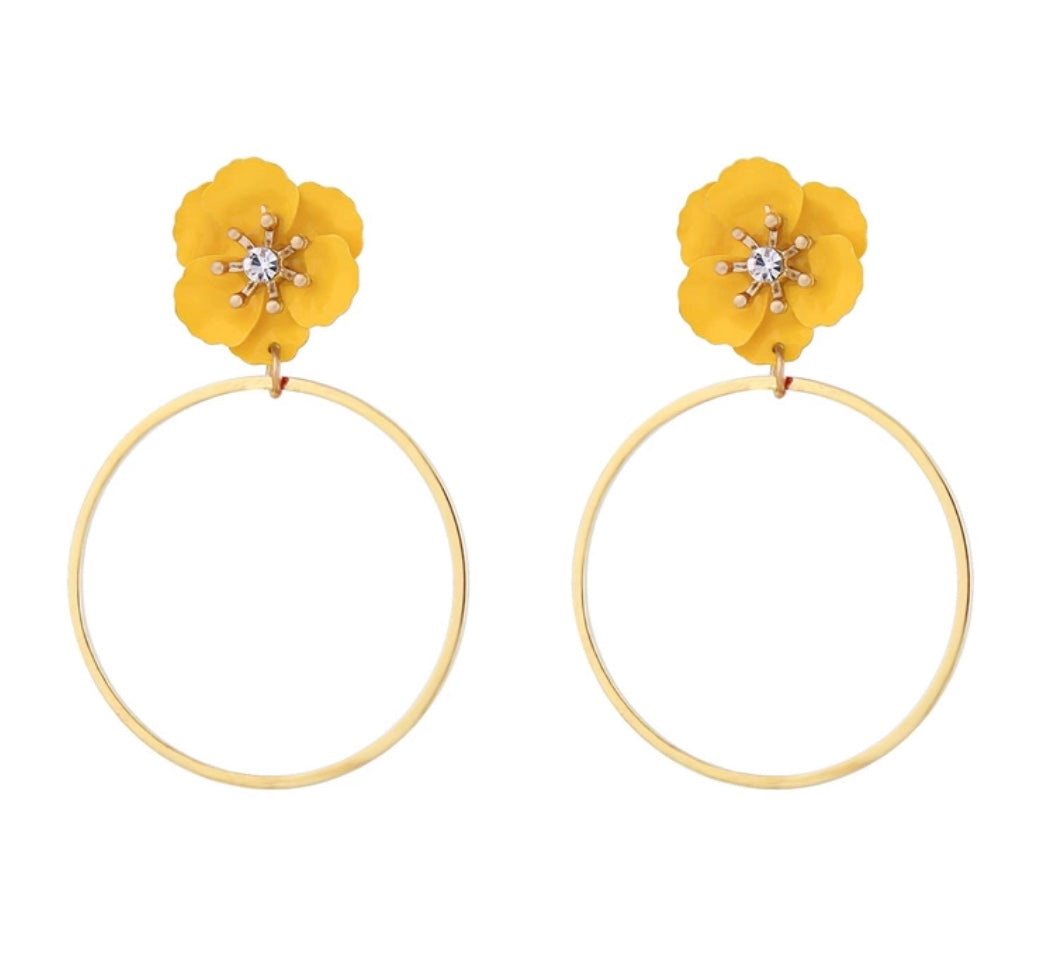 Swarovski Golden Pansy Hoop Earrings