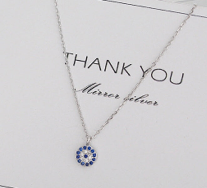 Solid Sterling Silver Swarovski Blue Luxe Necklace