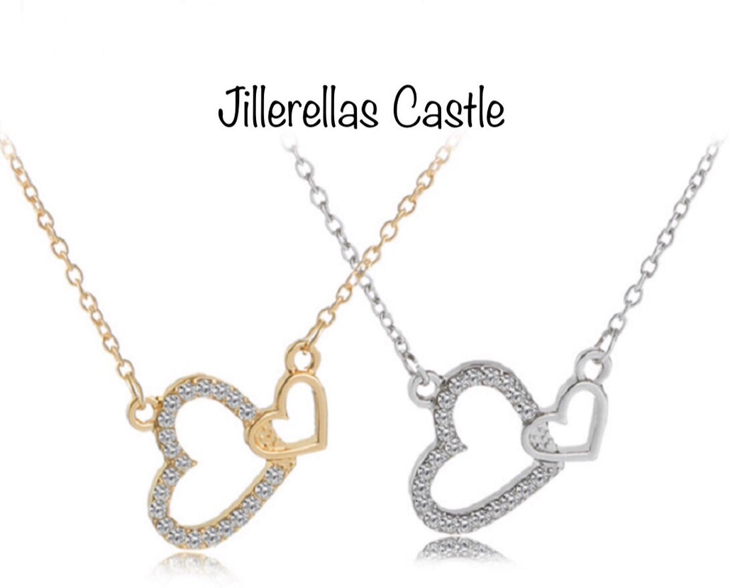 Double Heart Necklace Gold or Silver Plated