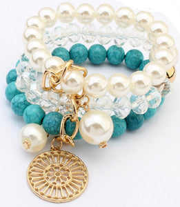 Cuff Charm Bracelet Turquoise Stretchy