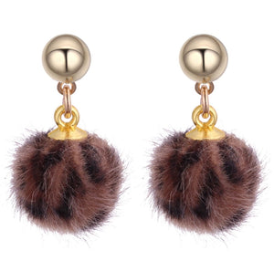 Chocolate Leopard Pom Pom Earrings
