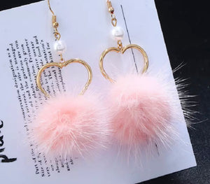 Pink Fur Heart Earrings