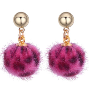 Magenta Leopard Pom Pom Earrings