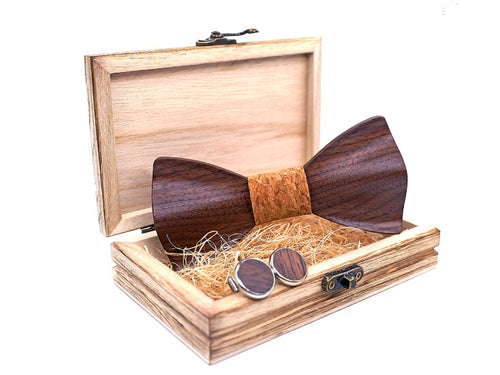 Hand Carved KOA Wood BowTie and Matching Cufflinks Set in Stainless Steel