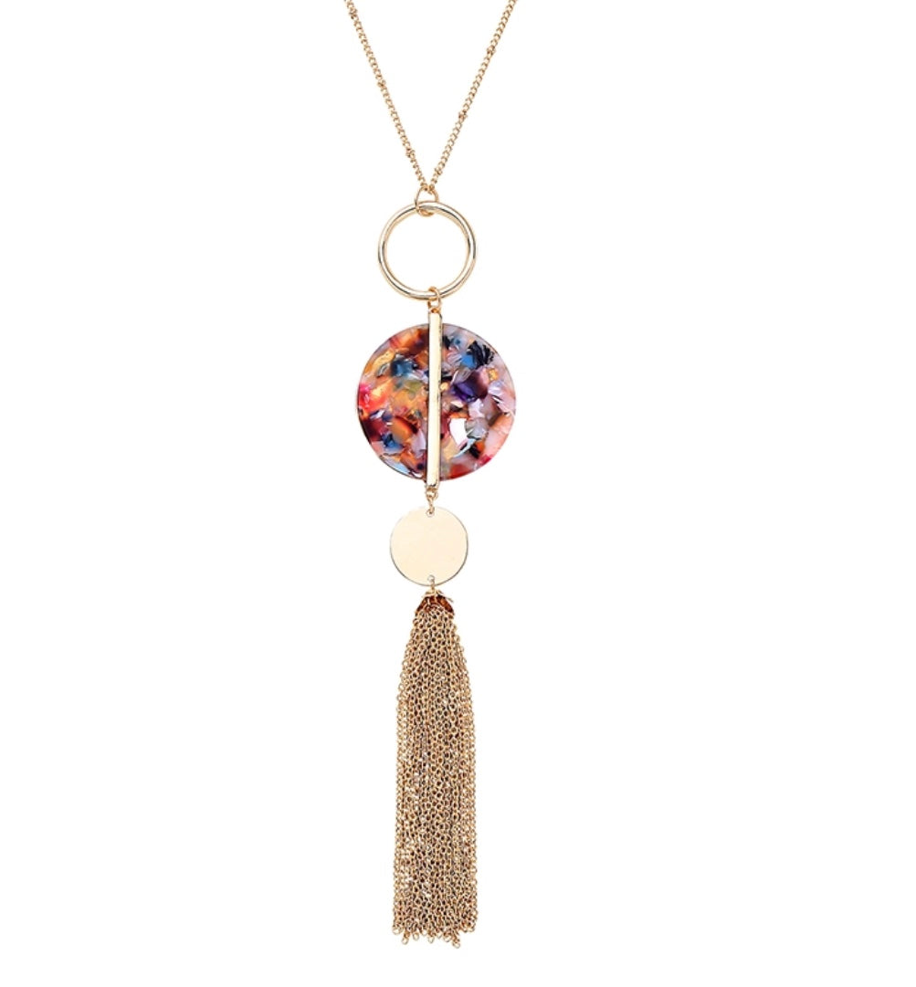 Gold Luxe Circle Tassel Necklace