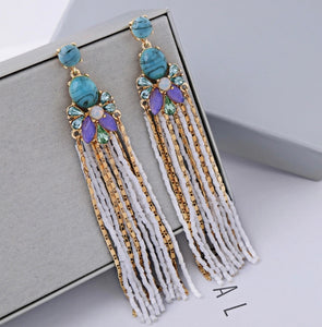 Swarovski Turquoise Earrings Sterling Silver Posts