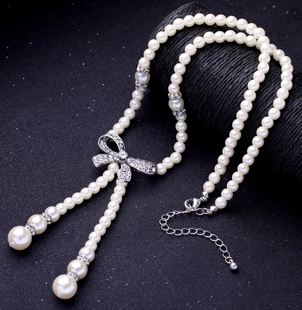 Swarovski Enchanting Pearl Bow Necklace