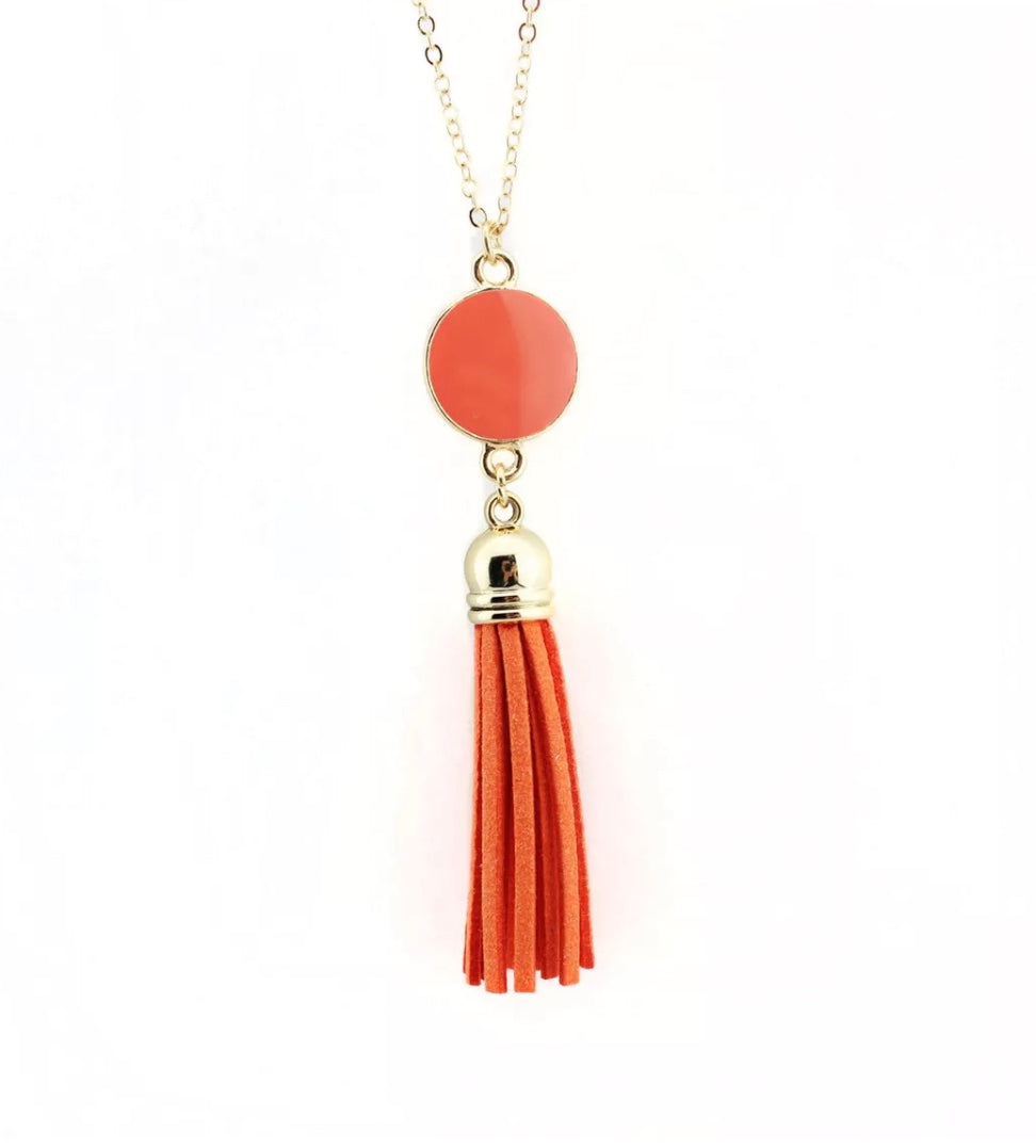 Dazzling French Fringe Necklace Orange
