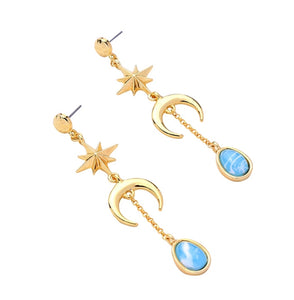 French Drop Sun Moon Earrings