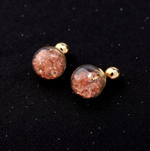 Floating Peach Crystal Baubles Two Sided Earrings