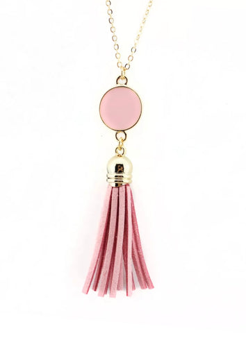Dazzling French Fringe Necklace Light Pink