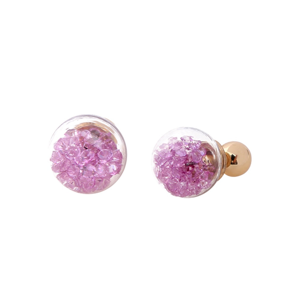 Floating Lavender Crystal Baubles Two Sided Earrings
