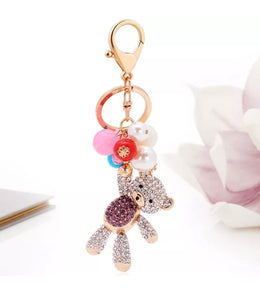 Purple Happy Bear Purse Charm Keychain