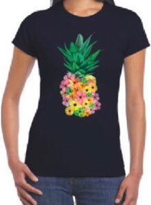 Floral Pineapple T Shirt Top Tee Black