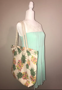 Floral Pineapple Beach Bag Tote