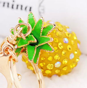 Glitzy Glam Gold Pineapple Purse Charm Keychain