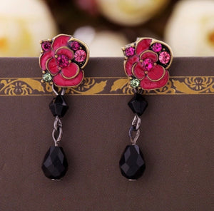 Swarovski Cherry Roses Earrings