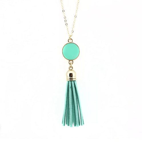 Dazzling French Fringe Necklace Mint Green
