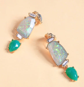 Swarovski Green French Drop Earrings