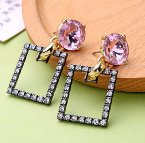 Swarovski Lavender Square Earrings