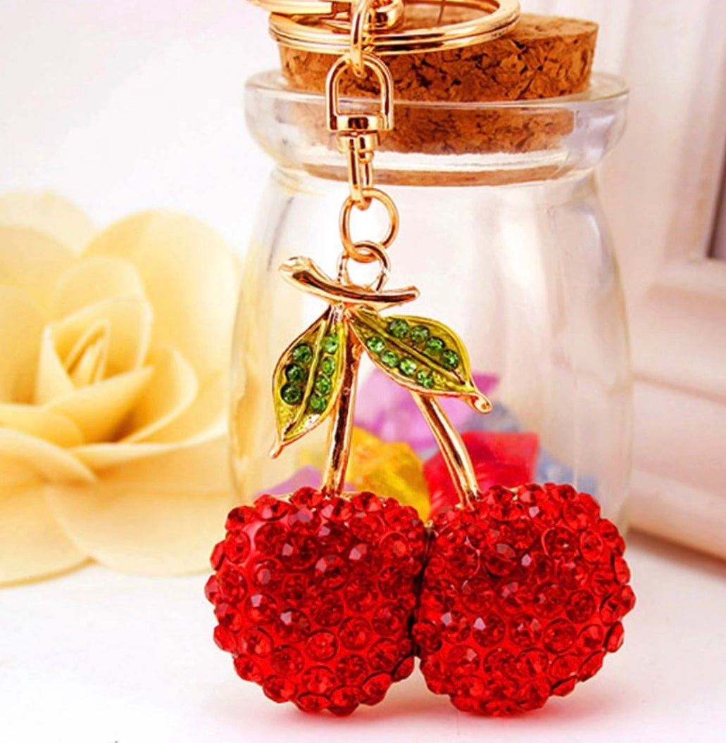 Sweet Red Cherries Purse Charm Keychain