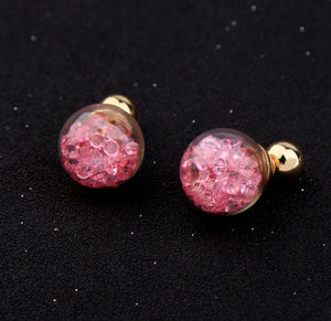 Floating Pink Crystal Bauble Double Side Earrings