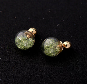 Floating Chartreuse Crystal Baubles Two Sided Earrings