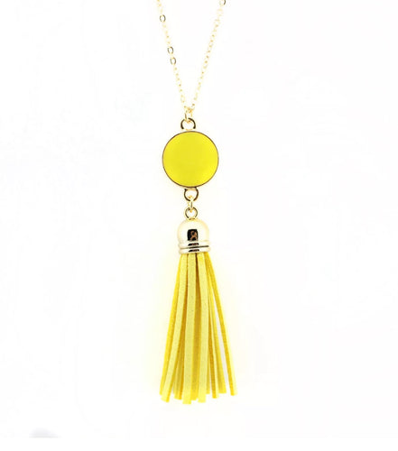 Dazzling French Fringe Necklace Yellow