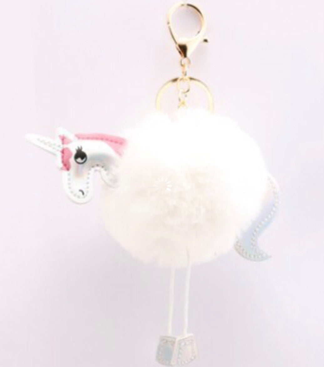 White Fur Unicorn Purse Charm Keychain