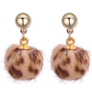 Beige Leopard Pom Pom Earrings