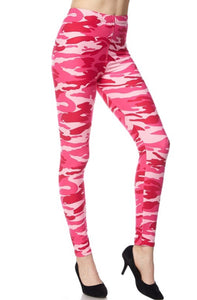 Leggings New With Tags Pink Camouflage Buttery Soft One Size Fits 0-14
