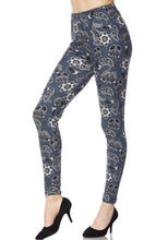 Leggings New With Tags Steel Blue Paisley Buttery Soft One Size Fits 0-14