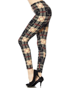 Leggings New With Tags Buttery Soft Taupe Red Black Geometric One Size Fits 0-14