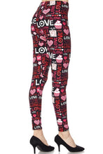 Leggings New With Tags Black Love Heart Buttery Soft One Size Fits 0-14 Jillerellas Castle
