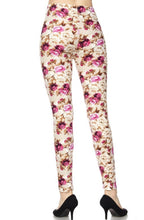 Leggings New With Tags Ivory Magenta Floral Buttery Soft One Size Fits 0-14