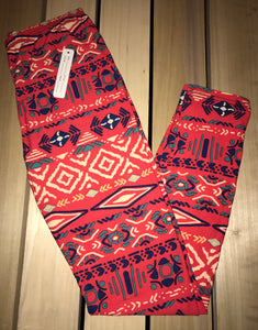 Leggings New With Tags Orange Tribal Buttery Soft One Size Fits 0-14