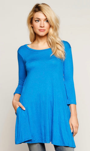 New With Tags Booty Cover Top Aqua Blue Buttery Soft Tunic