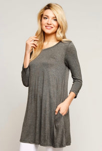 New With Tags Booty Cover Top Charcoal Grey Buttery Soft Tunic