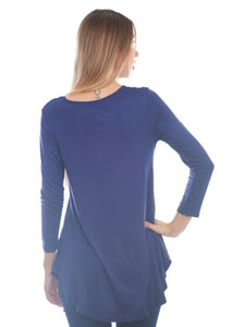Booty Cover Top New With Tags Blue Lace Up Buttery Soft Tunic