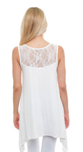 Booty Cover Top New With Tags White Sleeveless Lace Buttery Soft Tunic