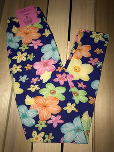 Leggings New With Tags Navy Blue Floral Multi Color One Size Fits 0-14 Buttery Soft