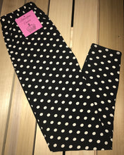 Leggings New With Tags Grand Black White Polka Dot One Size Fits 0-14 Buttery Soft